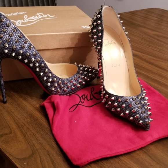 meet c0158 22255 Christian Louboutin denim studded heels